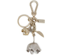 Silver and gold-tone crystal keychain