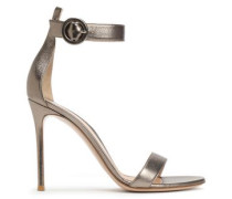 Metallic Leather Sandals Brass