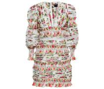 Lace-trimmed Floral-print Linen And Silk-blend Gauze Mini Dress White Size 1