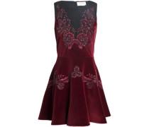 Embellished Lace-trimmed Cotton-blend Velvet Mini Dress Merlot