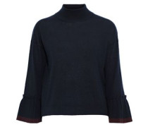 Pleated Cashmere Sweater Navy