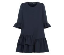 Ruffled Wool-blend Mini Dress Navy