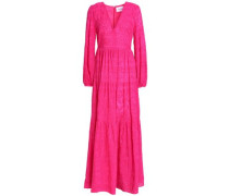 Embroidered Cotton And Silk-blend Maxi Dress Fuchsia Size 0