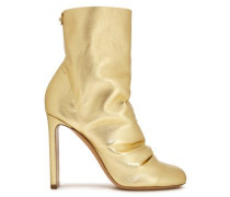 Woman D'arcy Gathered Metallic Leather Ankle Boots Gold