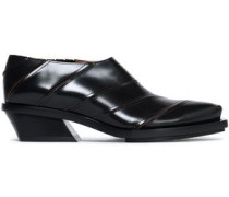 Woman Paneled Glossed-leather Brogues Black