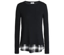 Checked flannel-paneled ribbed modal-blend top