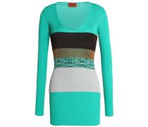 Paneled ribbed cotton sweater