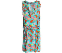Ruffle-trimmed printed jersey dress