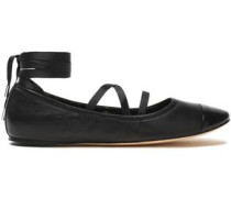 Matte and patent-leather ballet flats