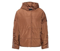 Woman Quilted Shell Hooded Jacket Light Brown