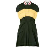 Color-block Cotton-piqué Mini Dress Forest Green