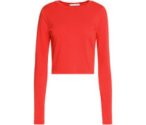 Ribbed cotton and modal-blend top
