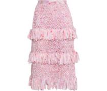 Fringed Silk-trimmed Macramé Skirt Baby Pink