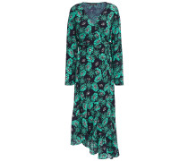 Woman Caroline Asymmetric Floral-print Crepe Midi Wrap Dress Turquoise