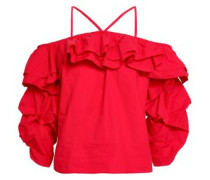 Cold-shoulder Ruffled Cotton-poplin Top Red