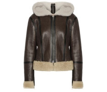 Shearling-lined Brushed-leather Hooded Jacket Dark Brown