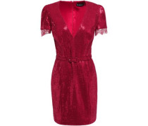 Edie Lace-trimmed Sequined Jersey Mini Dress Crimson