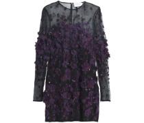 Floral-appliquéd embellished tulle and silk-blend crepe de chine mini dress
