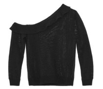 One-shoulder ruffled open-knit cotton-blend sweater