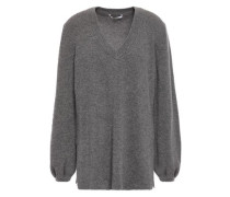 Woman Ribbed Cashmere Sweater Dark Gray