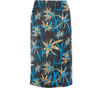 Floral-print satin skirt