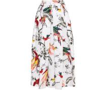 Elena pleated printed cotton-poplin midi skirt