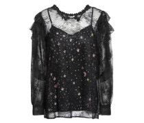 Layered Chantilly Lace And Printed Satin Blouse Black
