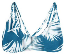 Strap-detailed Printed Bikini Top Blue