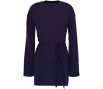 Two-tone Wool Sweater Dark Purple