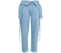 Embellished Frayed Denim Straight-leg Pants Light Denim