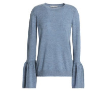 Fluted Mélange Cashmere Sweater Light Blue