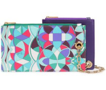 Set Of Two Faux Leather Pouches Multicolor Size --