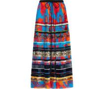 Paneled pleated printed silk maxi skirt