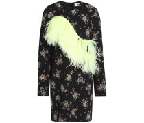 Feather-trimmed floral-print crepe mini dress