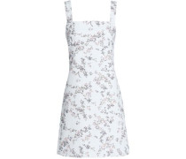 Floral-print Denim Mini Dress White