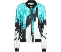 Printed silk-twill bomber jacket
