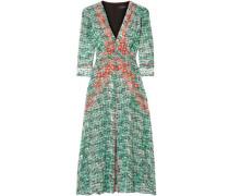 Woman Eve Printed Silk Crepe De Chine Dress Green