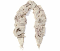 Fringed printed cashmere and silk-blend gauze scarf