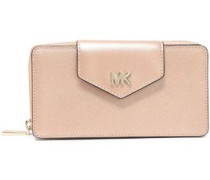Logo-embellished Metallic Textured-leather Wallet Rose Gold Size --