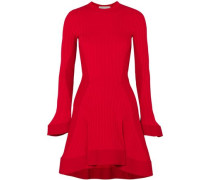 Fluted Ribbed Stretch-knit Mini Dress Red