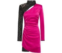 Cutout Embellished Lace And Satin-crepe Mini Dress Fuchsia