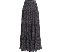 Printed pleated silk maxi skirt