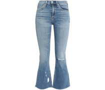 Distressed painted mid-rise kick-flare jeans