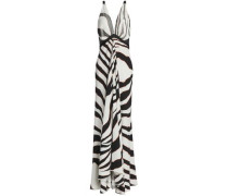 Satin and mesh-trimmed zebra-print stretch-jersey gown