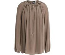 Gathered silk crepe de chine blouse