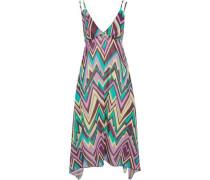 Asymmetric printed cotton-poplin midi dress