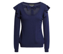 Bow-embellished Cutout Virgin Wool Sweater Navy