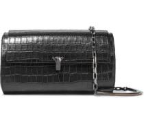 Woman Po Trunk Croc-effect Leather Shoulder Bag Black
