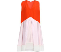 Layered color-block silk top