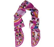 Embellished Printed Silk-satin Scarf Fuchsia Size --